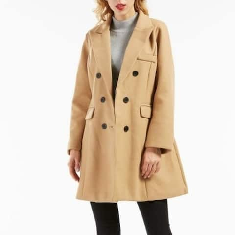 Women's Basic Essential Double Breasted Mid-Long Wool Blend Pea Coat