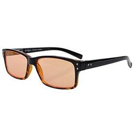 Eyekepper UV Protection,Anti Glare/Blue Rays Computer Reading Glasses Black/Yellow, Orange Tinted Lenses) +1.25