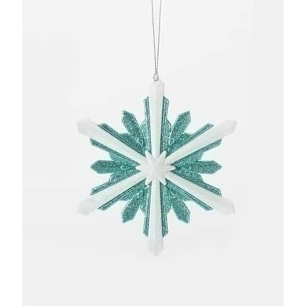 "5.25"" Snowy Winter Glittered White and Minty Blue Starburst Snowflake Christmas Ornament"