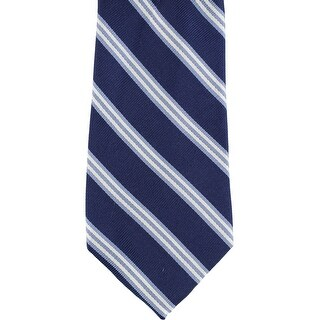 Club Room Mens Stripe Self-tied Necktie, blue, One Size - One Size