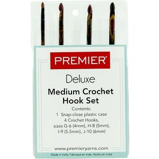 Hook Sizes: G6; H8; I9; J10 - Premier Yarns Crochet Hook Medium Set 4/Pkg