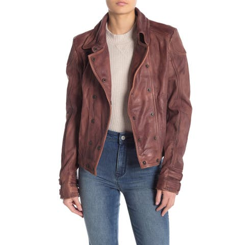 Free People Brown Women's Size XS Motorcycle Leather Jacket