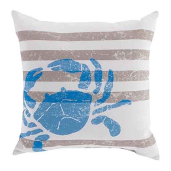 "18"" Light Gray and Royal Blue Seashore Fun Decorative Pillow Shell"
