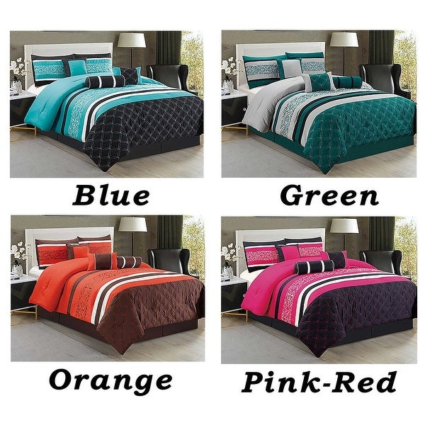 7 Pc Comforter Set Cal King Fl Modern Style With Bed Skirt Pillow Shams Square Breakfast Cushion Neck Roll Free Shipping Today