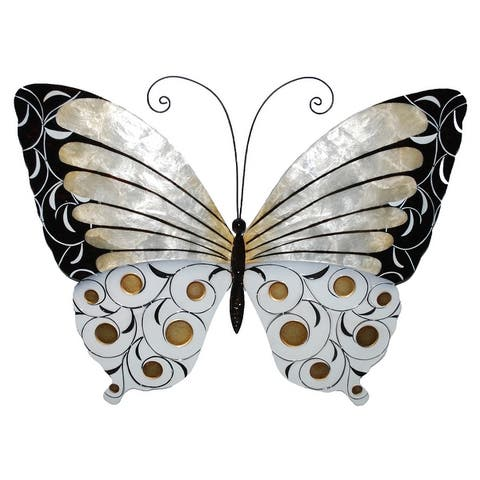 Handmade Wall Butterfly with Black Pearl and Gold (Philippines) - 18 x 1 x 13