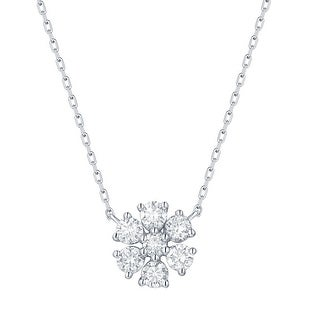 Smiling Rocks 0 50Ct G H VS1 Lab Grown Diamond 7 Stone Floral Cluster Necklace