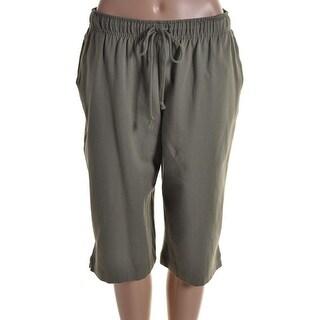 Karen Scott Womens Athletic Shorts Jersey Flat Front