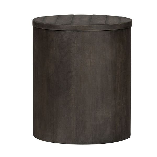 Modern Farmhouse Dusty Charcoal Drum End Table Overstock 28565469