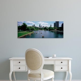 Easy Art Prints Panoramic Image 'Paddle boat in a lake, Lincoln Park, Chicago, Illinois' Canvas Art