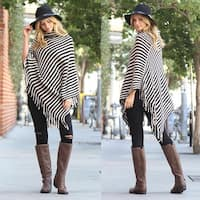 RIAH FASHION'S Striped Cowl Neck Fringed Hem Poncho - One size