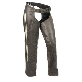 Women's Vintage Slate Chaps W/ Grey Racing Stripes