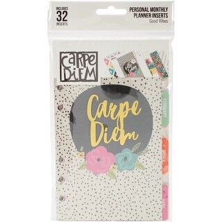 Carpe Diem Good Vibes Double-Sided Personal Planner Inserts-Monthly, Undated