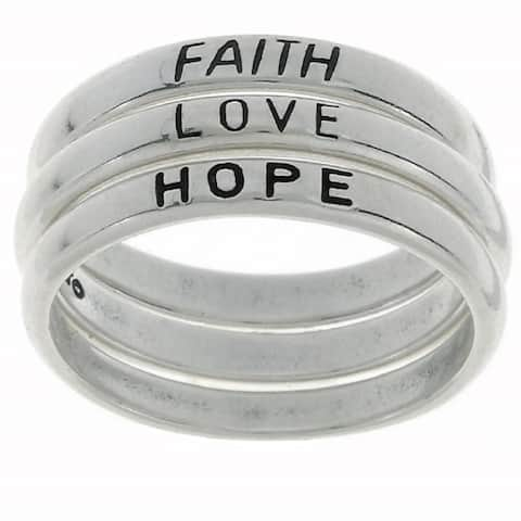 Sterling Silver Faith/ Love/ Hope Stackable Ring Set