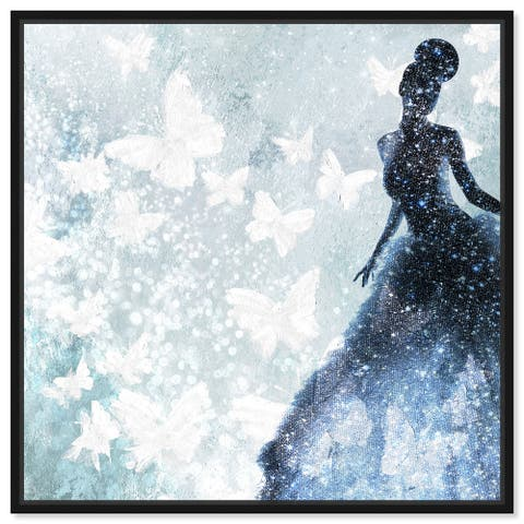 Oliver Gal 'Butterfly Lady Blue' Glam Blue Wall Art Canvas Print
