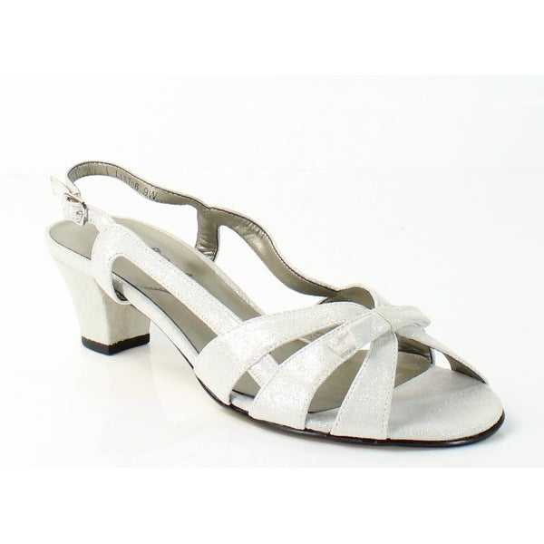 Rose Petals NEW Silver Lela Shoes 6W Slingbacks Suede Sandals