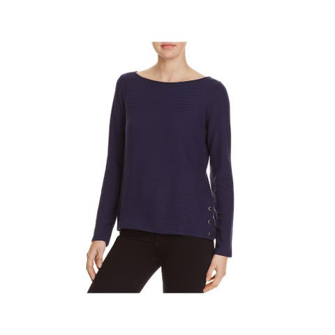 Red Haute Womens Blouse Ribbed Lace-Up - Navy - L