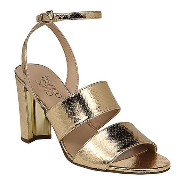 adb73388bb6 Franco Sarto Women  x27 s Haneli Ankle Strap Sandal Gold Shiny Snake  Polyurethane