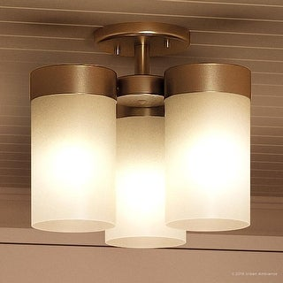 """Luxury Contemporary Ceiling Fixture, 9.875""""H x 11.75""""W, with Mid-Century Modern Style, Brushed Bronze Finish by Urban Ambiance"""