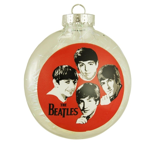 "The Beatles Tinsel Filled Shatterproof Christmas Disk Ornament 4"" (100mm)"