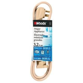 Woods Major Appliance Heavy Duty Extension Cord, 3.2 Foot, Beige