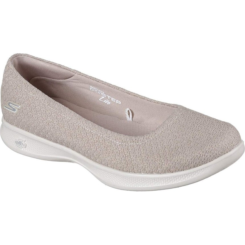 Skechers Go Step Lite Enchanted Womens Ballet Flat Skimmers Taupe 8.5