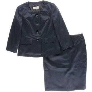 Le Suit Womens Prague Collarless 2PC Skirt Suit
