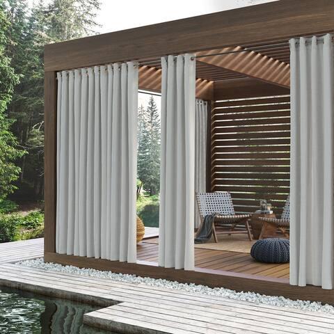 Sun Zero Reed Woven Indoor/Outdoor UV Protectant Room Darkening Grommet Curtain Panel