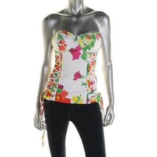 XOXO Womens Floral Print Strapless Corset Top - S