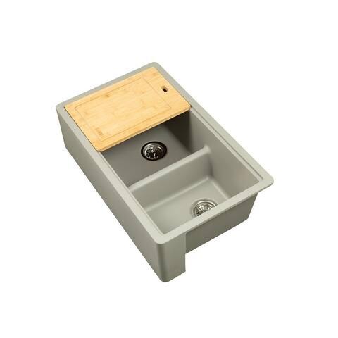 "Titan Farmhouse Granite 33"" Double Bowl Kitchen Sink with Cutting-Board & Strainer"