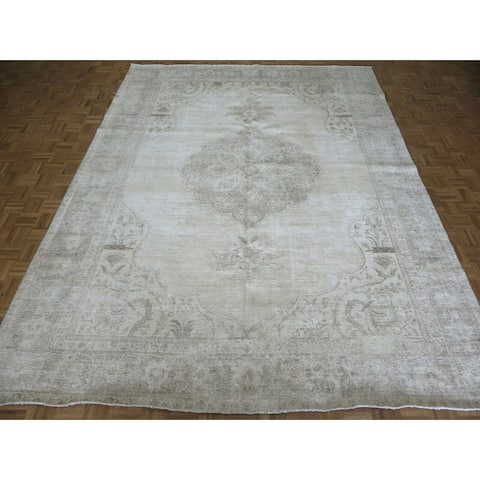 """Hand Knotted Beige Turkish with Wool Oriental Rug (9'9"""" x 12'10"""") - 9'9"""" x 12'10"""""""