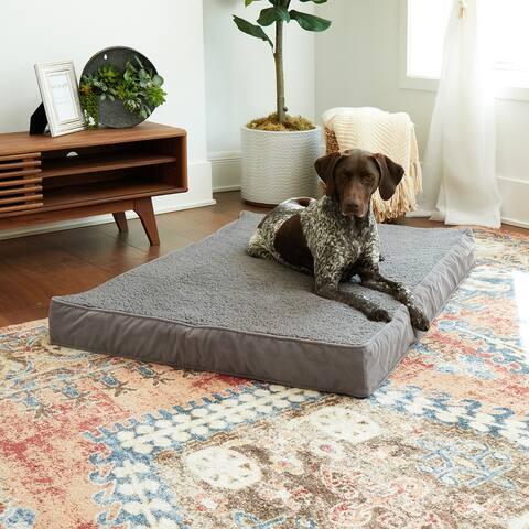Happy Hounds Oscar Orthopedic Gray Sherpa Dog Bed