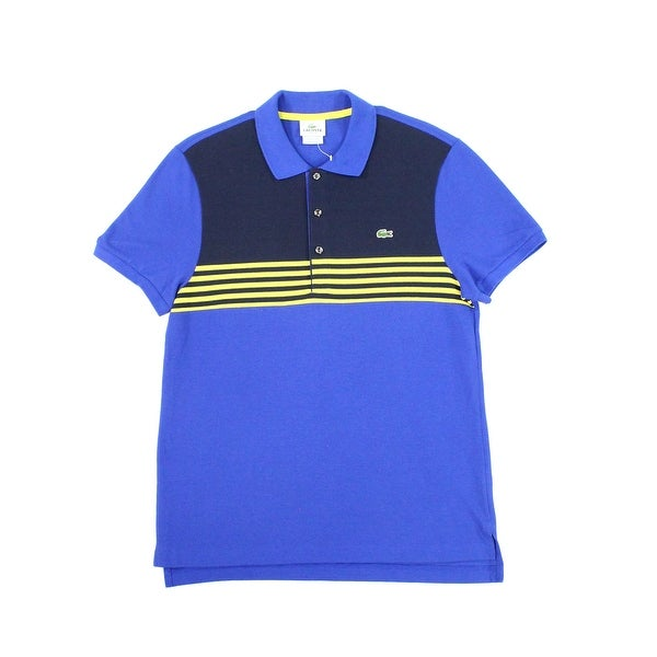 ca5f1504a Shop Lacoste NEW Blue Mens Size Medium M Polo Rugby Stripe Colorblock Shirt  - Free Shipping On Orders Over  45 - Overstock - 20958257