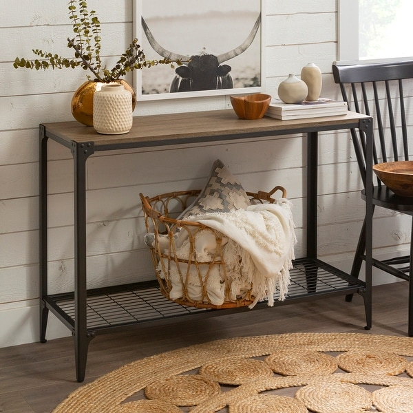 Carbon Loft Witten 44-inch Angle Iron Entry Table - Driftwood. Opens flyout.