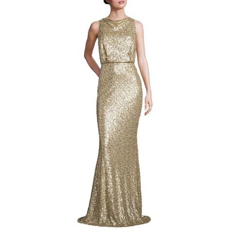 Badgley Mischka Sequined Blouson Evening Gown Dress Champagne - 14