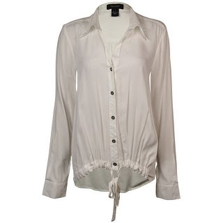 Karen Kane Women's Solid Front-Tie Buttoned Shirt - Off White - s