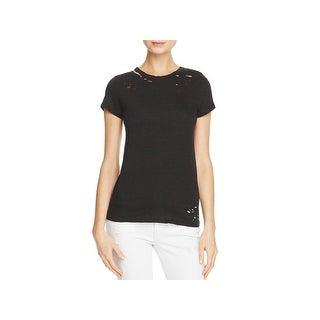 Pam & Gela Womens Petites T-Shirt Destroyed Distressed - p