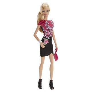 Fashionista Barbie Doll, Black and Pink Floral Dress