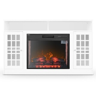 """DELLA White Finish Wood Electric Fireplace TV Stand, 59"""""""