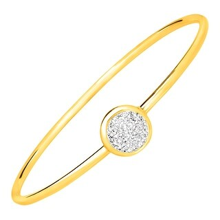 Crystaluxe Disc Bangle Bracelet with Swarovski Crystals in 24K Gold-Plated Bronze