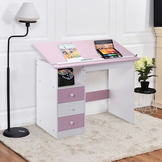 Costway Adjustable Top Drawing Desk Drafting Table Workstation Furniture w/ Drawers