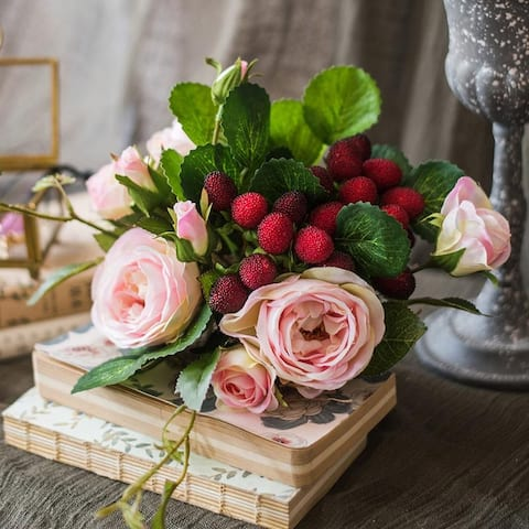 "RusticReach Artificial Raspberry Rose Bouquet 7"" Tall"
