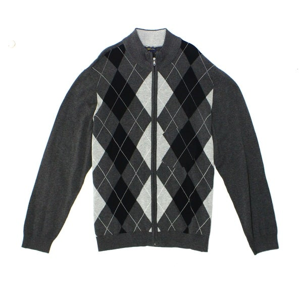 24e646c2dd26f9 Shop Club Room NEW Gray Charcoal Mens Size 2XL Full Zip Argyle Sweater - Free  Shipping On Orders Over $45 - Overstock - 17955750