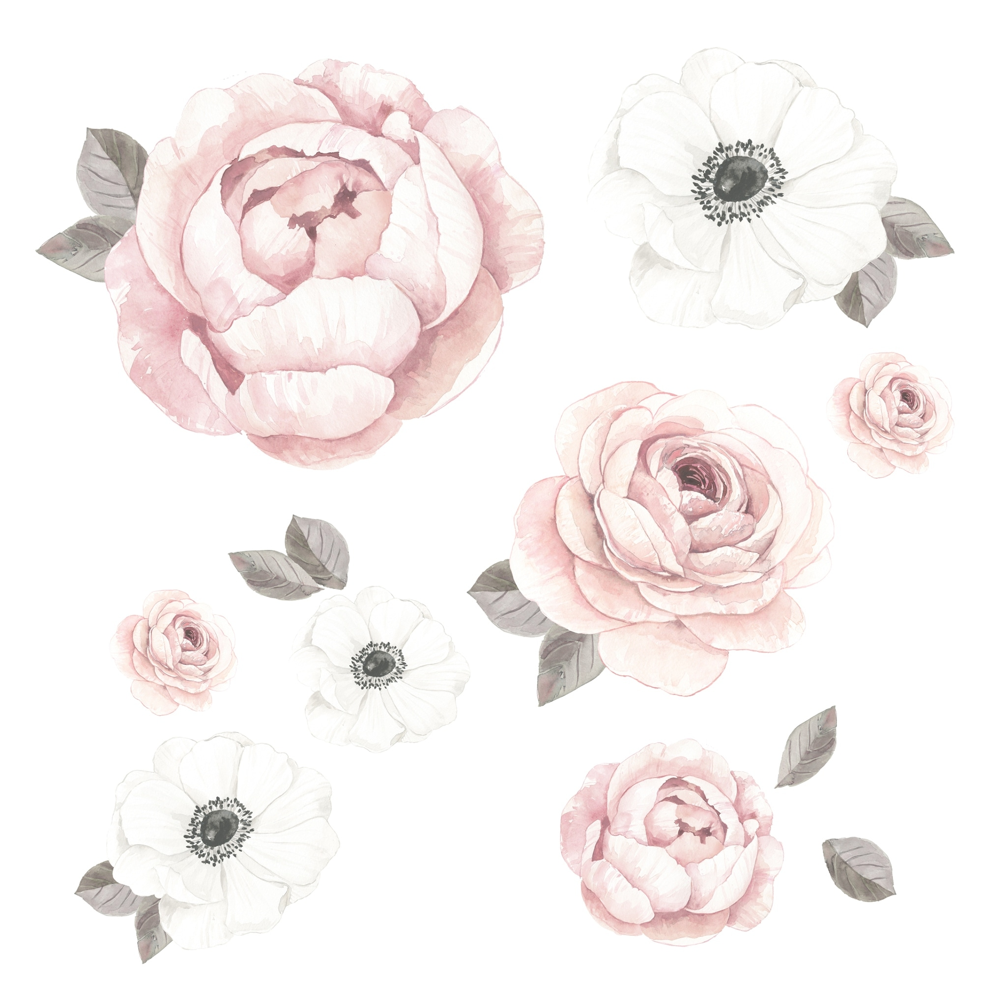 Lambs Ivy Floral Garden Large Pink White Watercolor Flowers Wall Decals Overstock 30939286