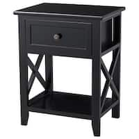 Costway End Bedside Table Nightstand Drawer Storage Room Decor W/Bottom Shelf Black