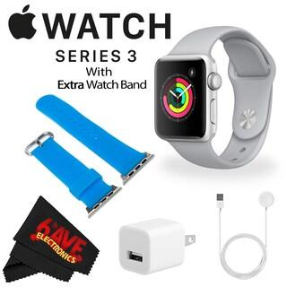 Apple Watch Series 3 38mm Smartwatch (GPS Only, Silver Aluminum Case, Fog Sport Band) + WATCH BAND ROSE GOLD MESH 38mm Bundle (Option: BLue)