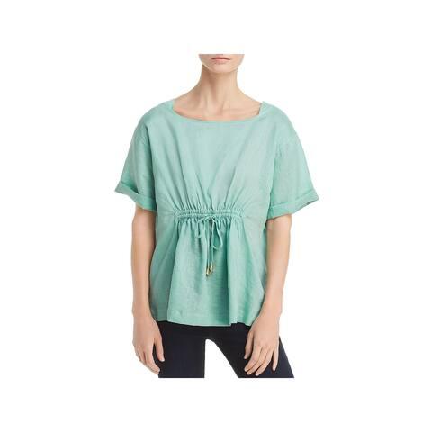 Donna Karan Womens Pullover Top Linen Boat Neck