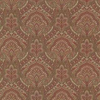 Brewster 2604-21218 Cypress Burgundy Paisley Damask Wallpaper - burgundy paisley