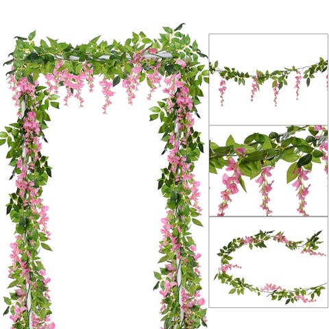 Garden Outdoor Ceremony Wedding Arch Floral Decor(Pink)