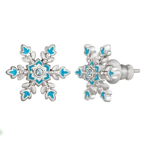 Disney Frozen Fine Silver Plated Aqua Crystal Snowflake Stud Earrings