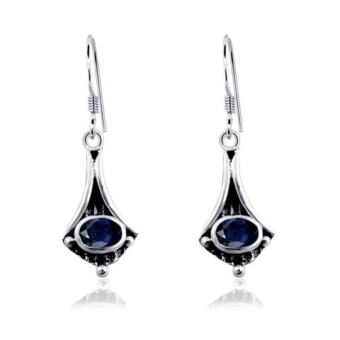 Sapphire Sterling Silver Oval Dangle Earrings by Orchid Jewelry